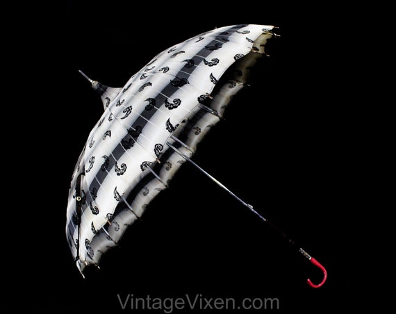 As Is 1950s Pagoda Umbrella - Picturesque 40s 50s