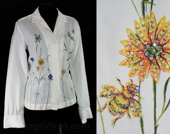 1960s Top Insects Hand Flowers Malbe Rhinestone Bugs Bust Butterflies Shirt Early Size Sleeved 12 41 45060 Painted Long Meadow FCzYYx