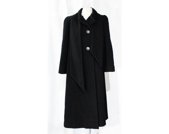 Size 10 Black Winter Coat - Designer 80s Overcoat… - image 1