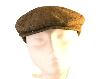 Men's Tweed Newsboy Cap - British Style 1940s Chocolate Street Style Gent's Hat - Brown & Offwhite Wool - Buckle Back - 40s 50s - 35678-1