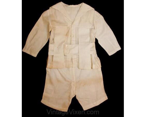 Taille des années 1900 Antique 4 col d'été en lin blanc ensemble - tournant du siècle - fait-main garçons costume de marin - deux pièces - dos carré du garçon - 37030