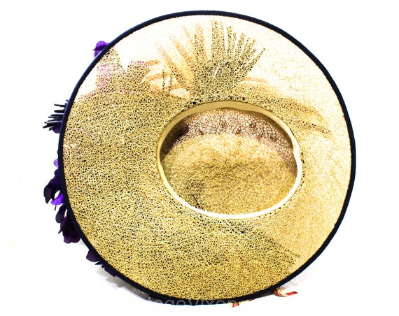 1940s Straw Picture Hat with Violet Flowers & Pin… - image 10