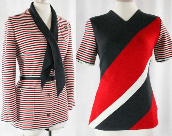 Size 10 Striped Mod 60s Suit - Italian 4Pc Blazer