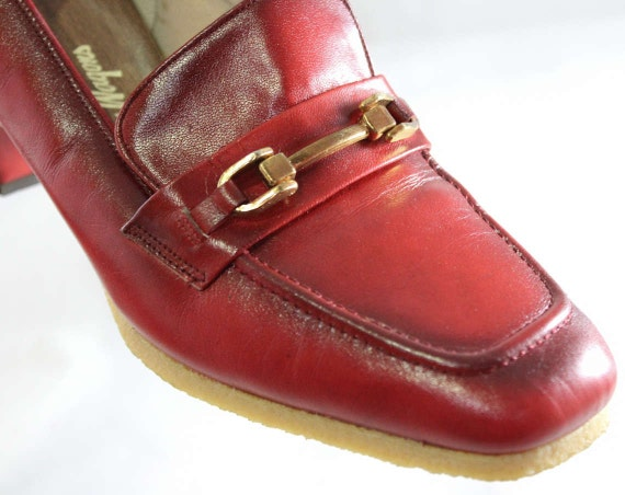 Leather 60s Shoes 60's 60s 46992 Hipster 1960s Deadstock Shoes Loafers Crimson 1 Unworn Pumps Red Quality 7 Size Office Nice AY48Eqwxq