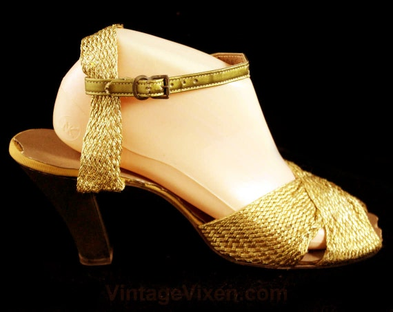 Deadstock Open Pin Size Style Evening Toe Up 5 5 2 1950s Gold 47098 Girl 50s Shoes 5 Hollywood Metallic Glamour Shoes Sandals 1 2 ZO41nTWrZ