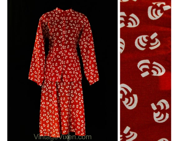Size 6 Novelty Print Dress - Art Deco Style Silk T