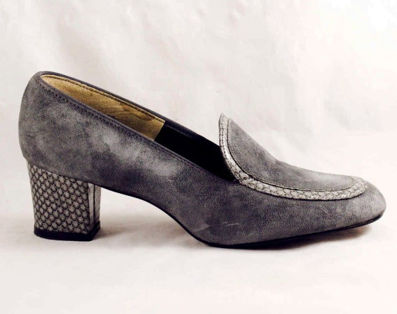 Shoes Trim Puppies 6 Style Size Snake 1 1 47714 Career 2 Retro Faux Grey 1970s 6 5 Hush Suede Pumps Gray Girl Deadstock 70s with M BBx7tq