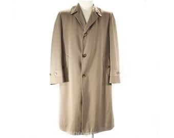 Mens Large 1940s Gabardine Coat - Exceptional 40s 50s Tan Wool Overcoat Outerwear - Pick Stitching & Detachable Lining - Chest 44 - 50218