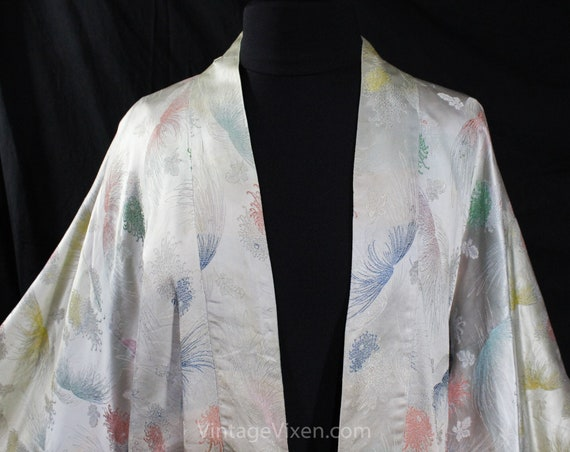 Asian Silver Brocade Kimono Robe - Ladies Size La… - image 2
