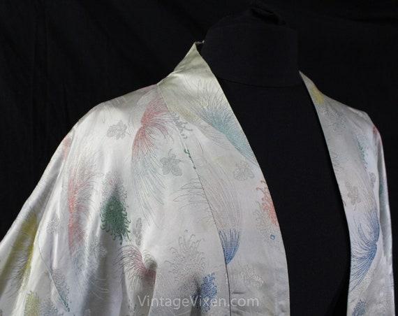 Asian Silver Brocade Kimono Robe - Ladies Size La… - image 3