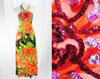 XS 1970s Sun Dress - Strappy Lolita Chic 70s Bright Floral - Orange Green Black - Tropical Resort Jersey & Sequins - Long Dress - Bust 31.5