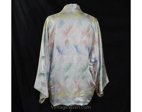 Asian Silver Brocade Kimono Robe - Ladies Size La… - image 9