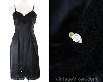 Size 10 Black Full Slip - 1950s 1960s Lingerie - Nylon Tricot & Lace - Pink Ribbon Rosettes - Classic 50s Deadstock - Bust 37.5 - 49939-12
