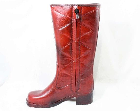Orange Waterproof Deadstock 1960s Unworn Size Street Boots 60s Fleece 43151 Burnt Vinyl Style Diamond Lined 2 Mod 5 Pattern qHxBYX