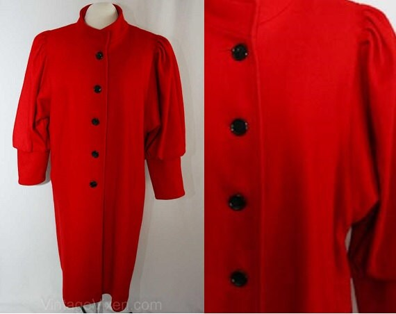 Size 20 Fabulous Red Wool Coat with Leg-O-Mutton S