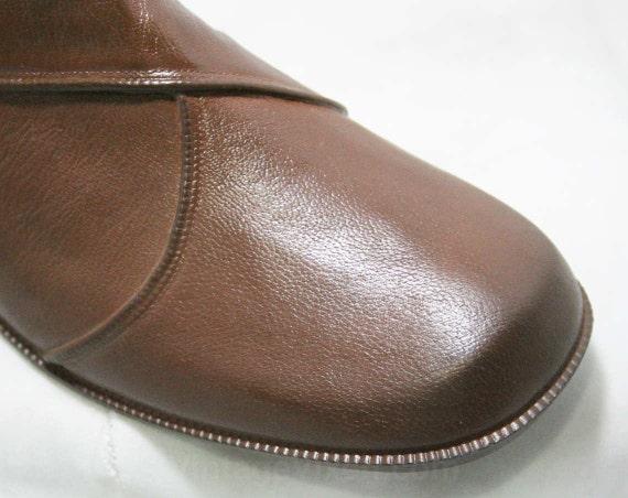 L'Oeil Brown 1960s Lined amp; Faux 43707 Boot Size 60s Boots Buckle Trompe Deadstock 9 1 Waterproof Rubber Winter Fleece Strap xf88nEX