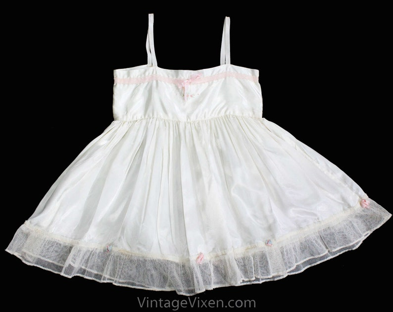 ef1aed1742 Antique White Satin Baby Dress Toddler s Chemise with