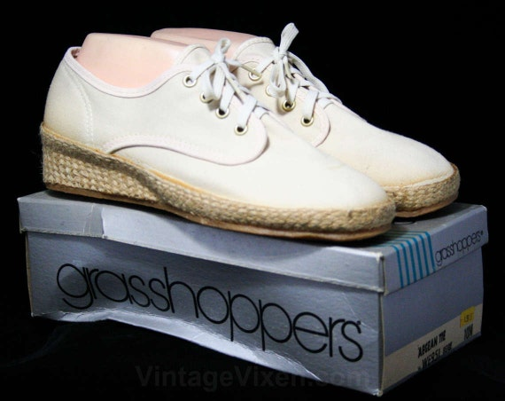 Shoes Sneakers Keds Jute 44539 Casual Sneaker 10 by 10M Grasshoppers 80s with Heel Classic Size Deadstock Ked's Woven Beige wEtqX4