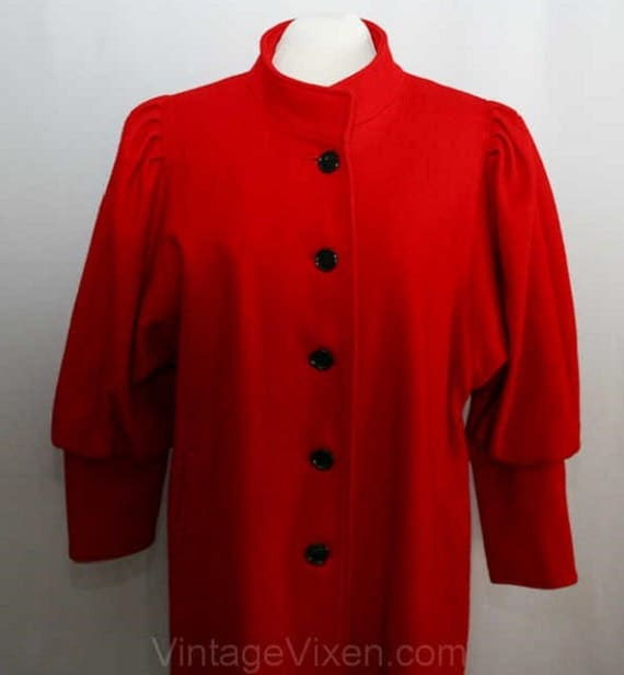 Size 20 Fabulous Red Wool Coat with Leg-O-Mutton … - image 2