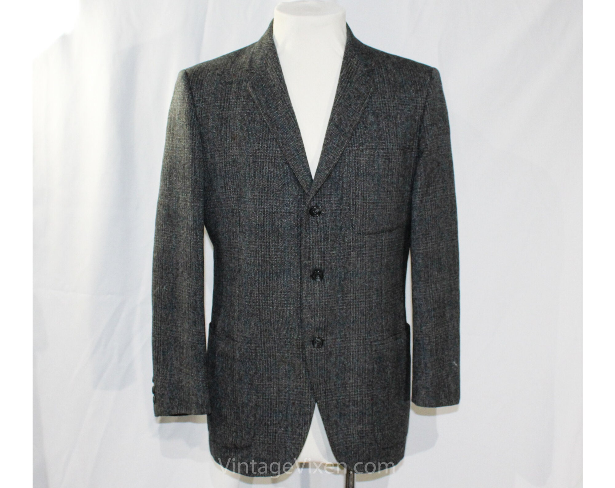 1950s Mens Suits & Sport Coats | 50s Suits & Blazers Mens 1950S Suit Jacket - Small Blue Gray Glen Plaid Wool Tweed Blazer Top Quality Mens 50S 60S Detroit Sport Coat Chest 42 Marked 39 $40.45 AT vintagedancer.com