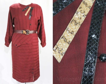 Medium 1930s Inspired Dress - Size 10 1980s Burgundy Office Dress with Snake Skin Trim - Maroon Wool from Italy - 30s Asymmetric - Bust 38