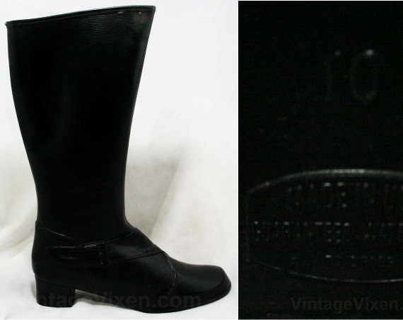 Size 6 Black Boots - Authentic Early 1960s Deadsto