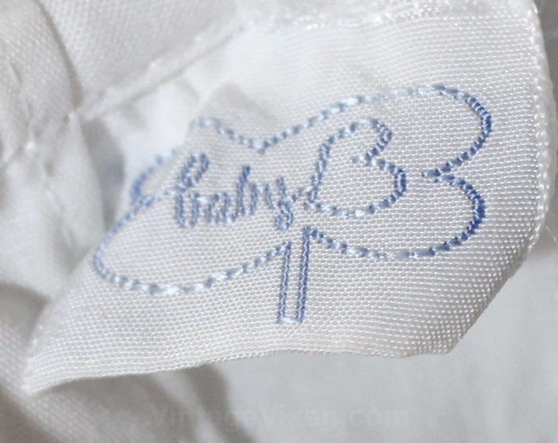 Puffed Sleeve Size Newborn Baby Dress White Cotton /& Blue Piping 50s 60s Spring Frock 49918 Daisy Embroidered 1950s Infant Dress