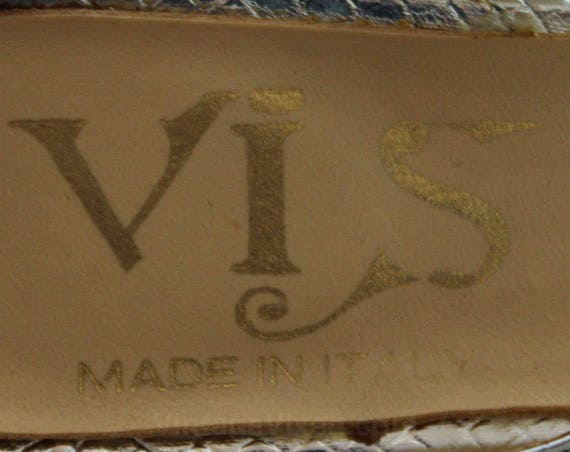 5 47872 3 Size Strap 1970s Heel Strappy Metallic Sandals 70s Pattern M Toe Open Deadstock Snakeskin Ankle 5 Silver Shoes qSqaHUp