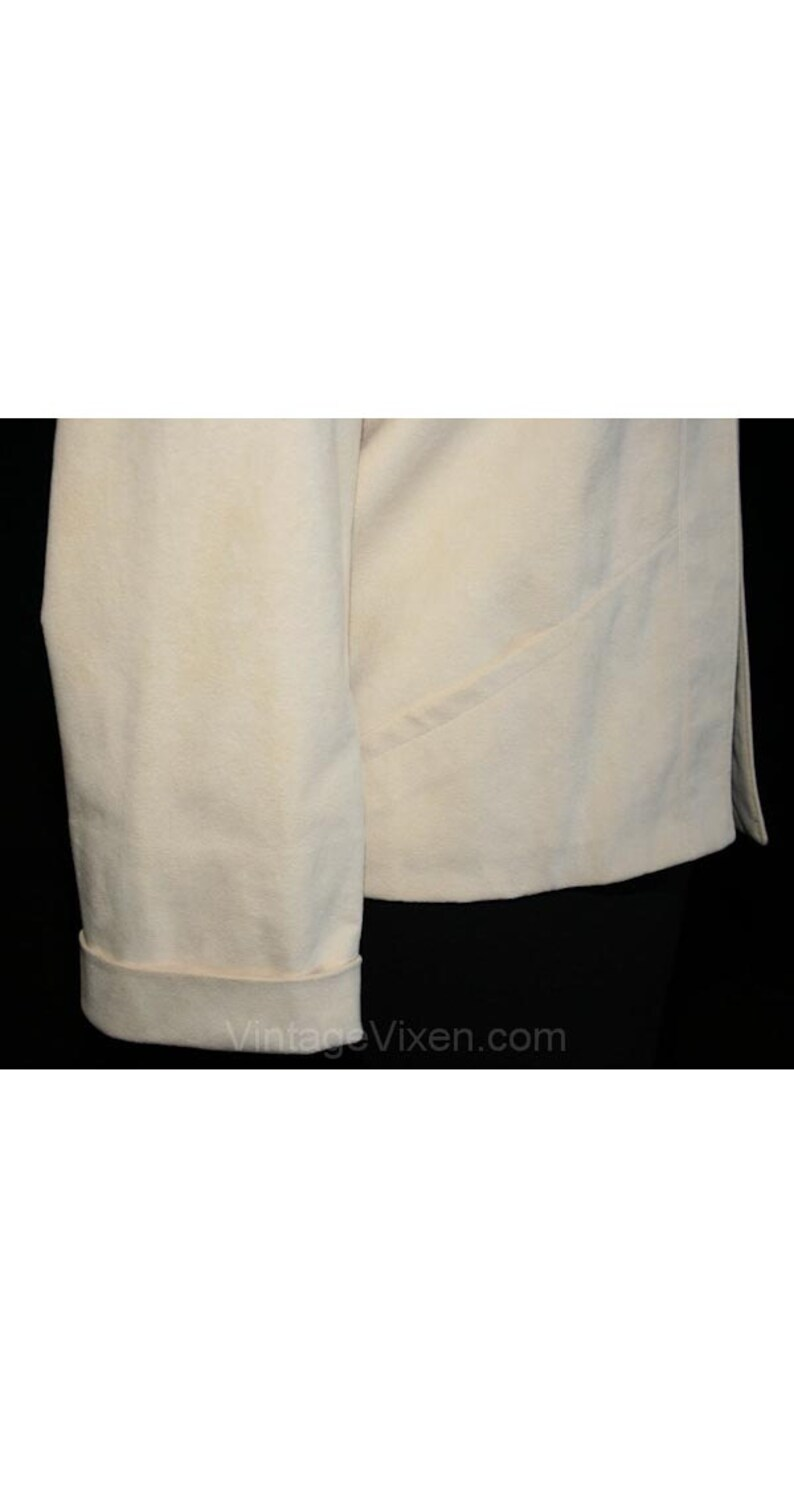 Bust 38 Hip 36 28586 Mod 1970s Ultra-Suede Open Front Jacket Size 6 Ivory Jacket Designer Samuel Robert Small Modernist Blazer