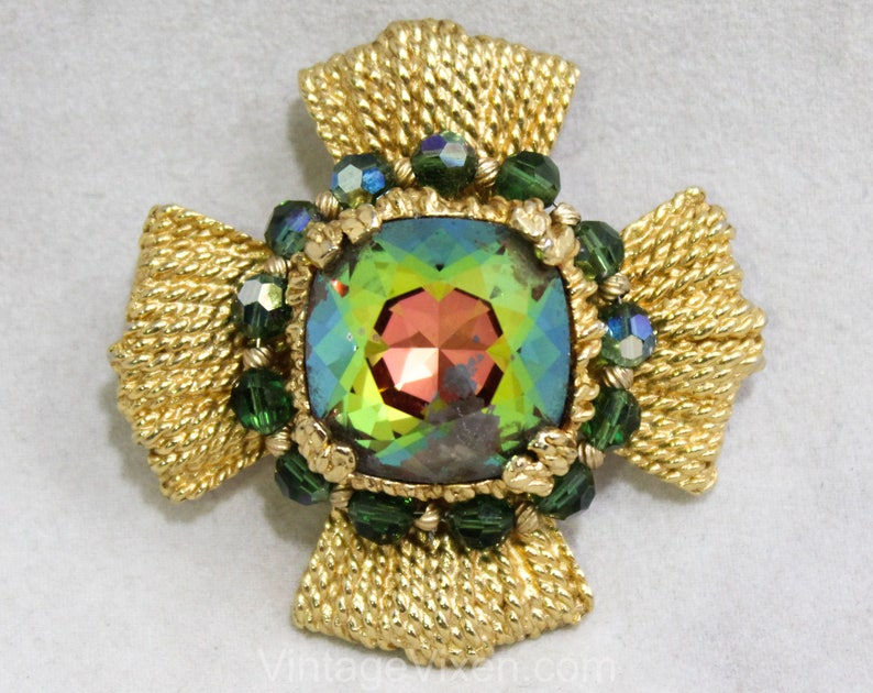 1970s Napier Striking Maltese Cross Pendant Necklace Rainbow Watermelon Faceted Glass Stone Bold Collectable Converts to Brooch Pin