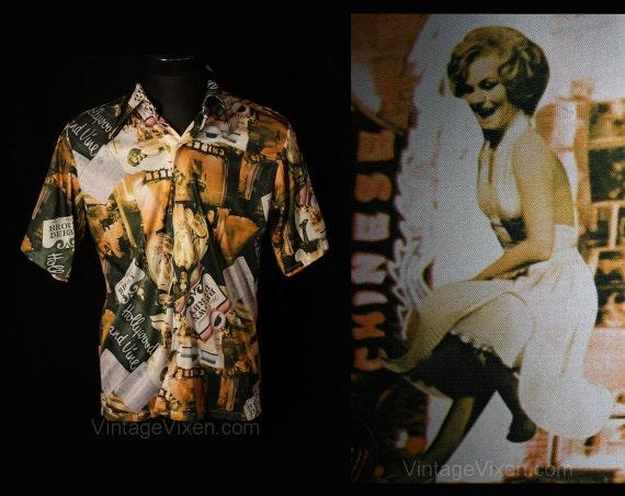 Men's Large 70s Shirt - Disco Era Hollywood & Vine