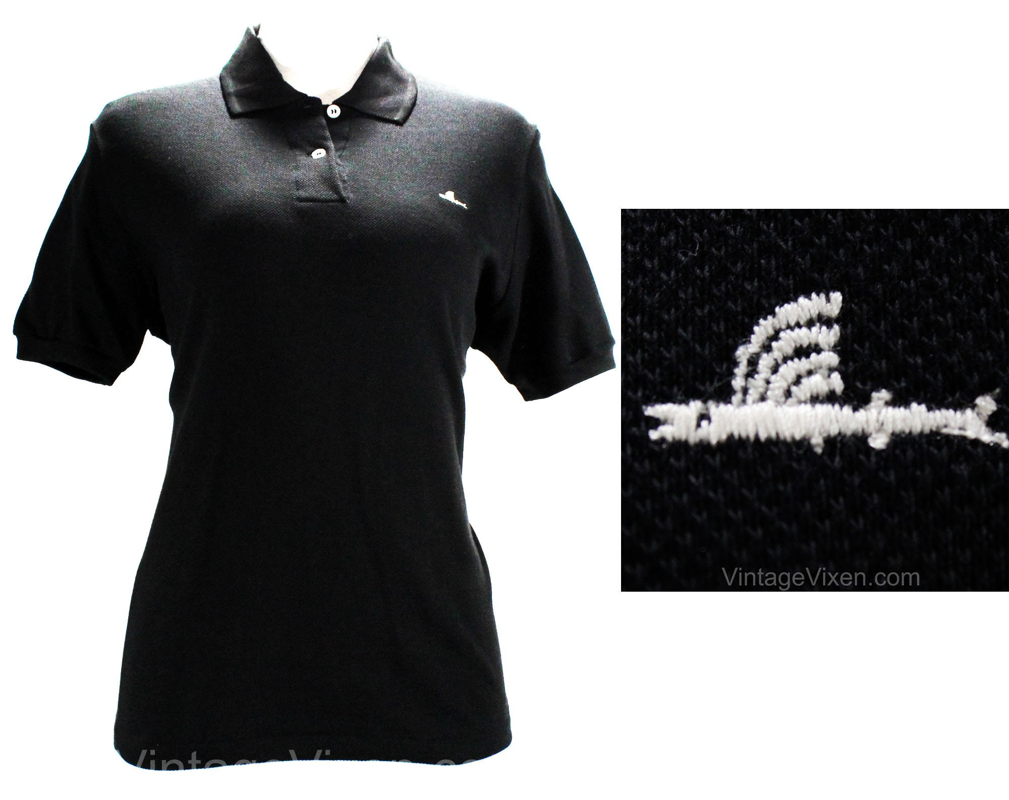 1950s Men's Ties, Bow Ties – Vintage, Skinny, Knit Small Black Polo Shirt By Catalina - 1950S Cotton Pique Knit Casual Top Flying Fish Logo Short Sleeve Summer Beach Surfer Bust 41 $45.00 AT vintagedancer.com