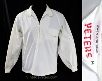 Men's Large 1950s Shirt - Nautical Beach Style White Cotton Mens 50s Casual - Summer Long Sleeved Top - Zipper Front Top - Chest up to 48