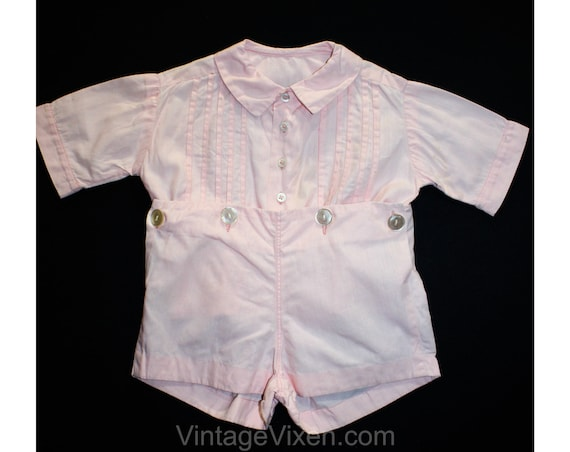 Charming 1940s Baby Girl's Pink Cotton Romper - Si