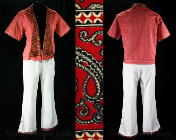 Size 6 Red 50s Cotton Jacket & Pants - Small Rare