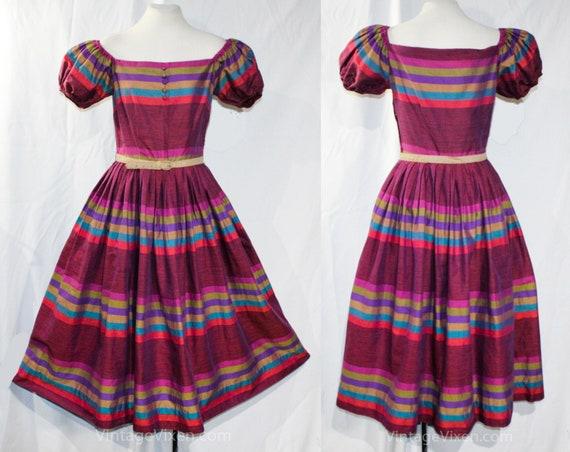 Size 6 Peasant Dress - 1950s Saltillo Style Stripe