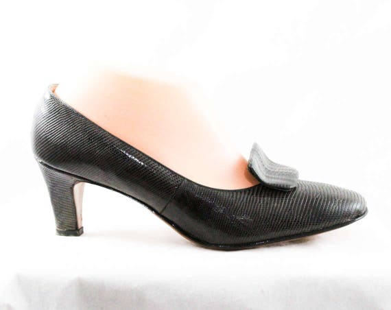 Heels 1 48197 8 2 50s Grey B 8 Pumps Secretary Deadstock 1 Beautiful Size Size Leather Shoes Style 60s Reptile Gray 1960s 1RxqY