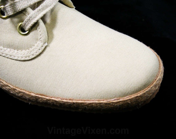 Vintage Woven Deadstock 10N Size 80s Beige Cream Size 44178 Casual Shoes Ecru Classic 2 10 Large Jute Shoe Sneakers Canvas 6qT5x1wR