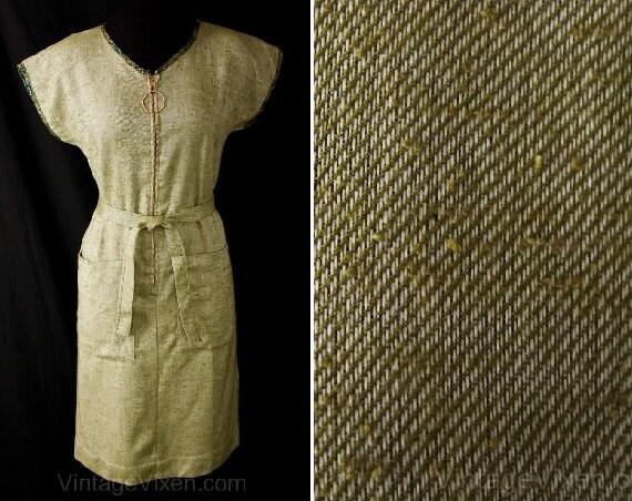 Size 4 Olive Green Dress - Late 1950s Beatnik Styl