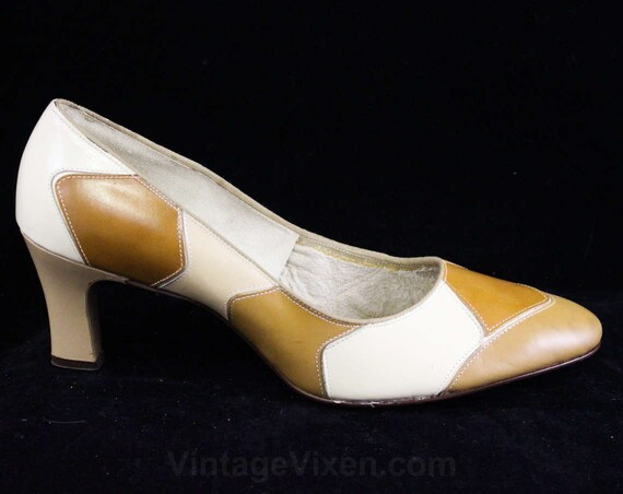 47069 Tan 2 Unworn Brown Caramel Leather B Mod 8 Secretary 1960s Deadstock amp; Patches Pumps Size 8 Patchwork Style 1 5 Shoes qwAOnP1S