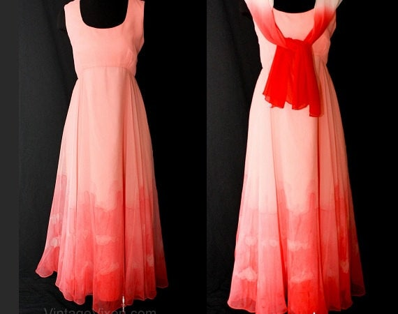 4c53f1862fb Size 10 Formal Dress - Lillie Rubin 1960s Beautiful Coral Ombrè Chiffon  Evening Gown - Designer Pink Peach Long Summer Dress - Bust 35.5