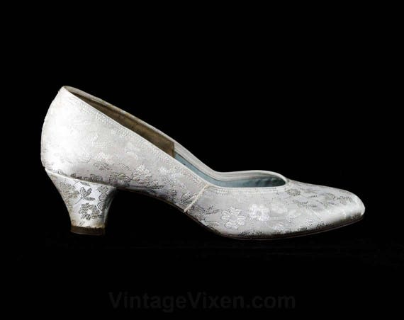 Hour Brocade Silver 48086 Size 6 Heels 6 Evening 2 Deadstock 5 1960s Unworn Pumps Shoes Elegant 1 Gray Metallic Pale 60s Cocktail 64gFPqw