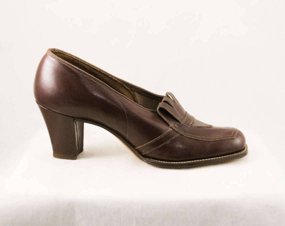Style Cognac Fall Deadstock 6 AA 30s Deco Shoes 1940s Secretary Autumn Size Heels 1930s Loafer 6 Brown Pumps Leather 1 48024 CB8qwxwT0