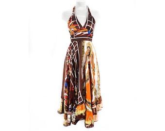 Size 6 1970s Hippie Dress - Gorgeous Scarf Novelty Print - 70s Boho Halter Summer Sun Dress - Brown & Orange - British Label - Bust 32 to 34