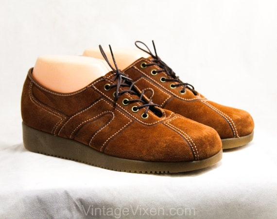 Sueded 7D 7 Shoes Top Tan Size Up Stitching Wide amp; 60s Sneakers Suede Late Lace Brown 1960s Leather Casual 50250 Width with Cute q4HHwd