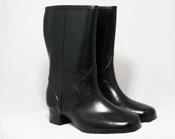 Inspired 50s Wide Size Waterproof Winter Fleece Deadstock WW Width 44497 Lined 5 Victorian Authentic 1 Vinyl 1950s Black Boots qX6ZqS