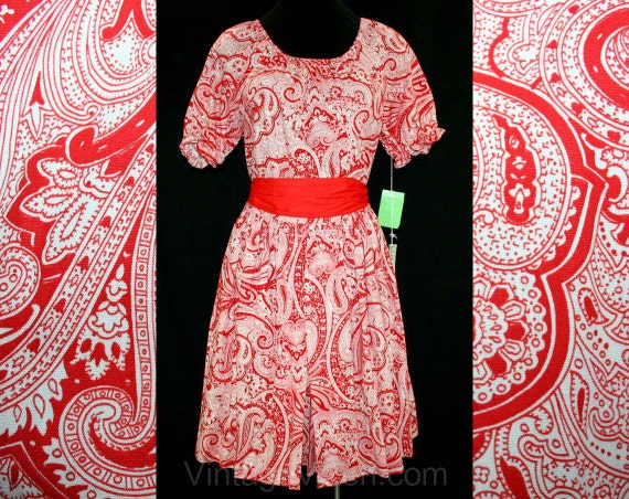 Size 10 Sun Dress - Red Paisley Print Peasant Spli