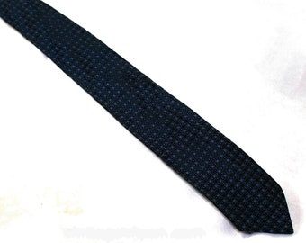1950s Men's Skinny Tie - Blue Pixel Pattern Geometric Brocade - Kitsch Nerdy Mid Century Business Man's 50s Necktie - Black Squares Graph