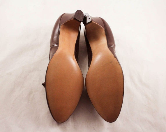 by Sophisticated Shoes Quality 7 Chic Size Jettick Enna 1 47659 Secretary Pumps Chocolate 1960s High Leather Unworn Deadstock Brown wFgfqCzx