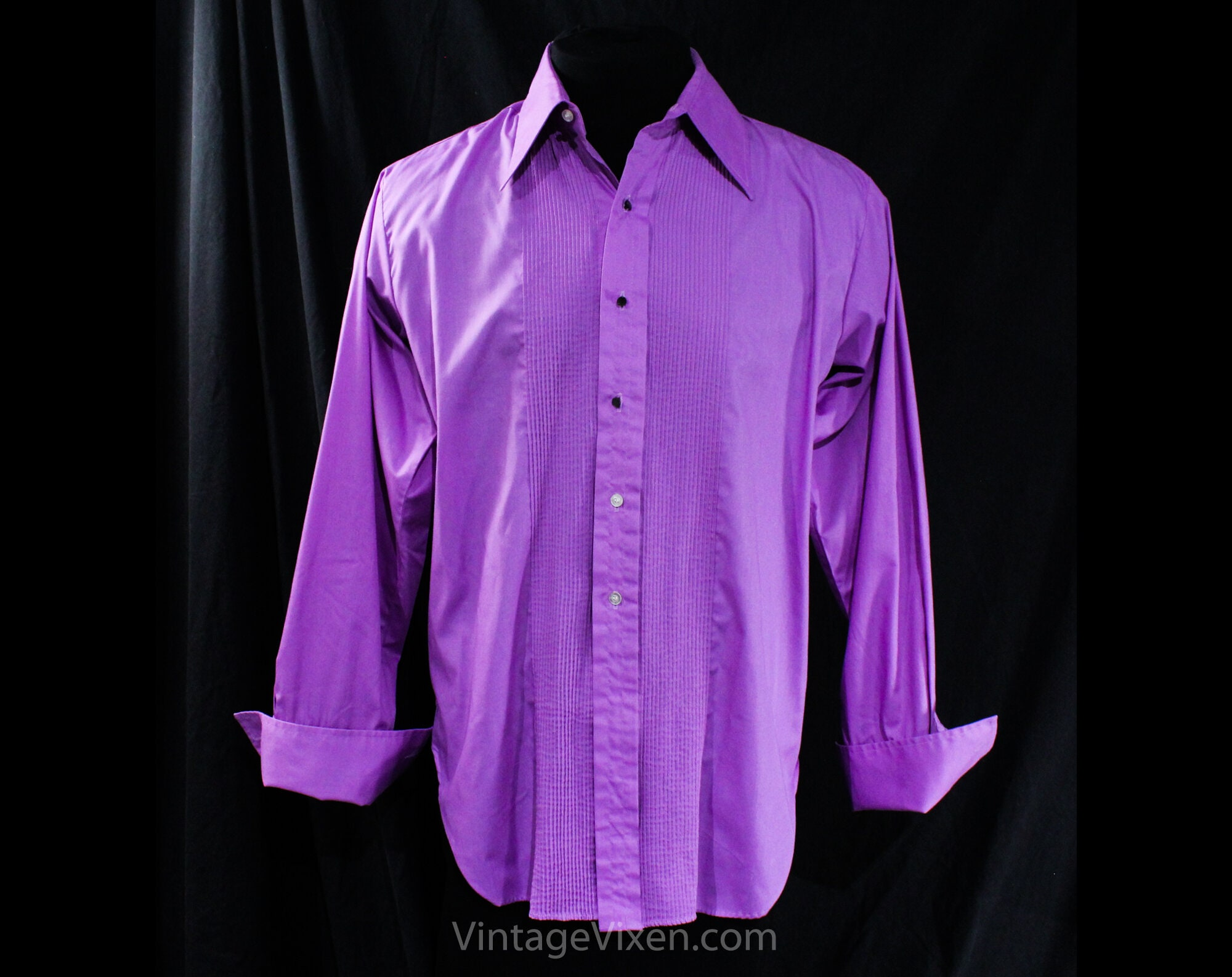 1970s Men's Shirt Styles – Vintage 70s Shirts for Guys xl Mens 1970S Tuxedo Shirt - Disco 70S Prom King Mens Purple Tux Formal Wear With Optional Ruffle Front French Cuffs Chest 48.5 $62.50 AT vintagedancer.com